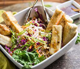 Hanoi-Style Tofu with Vietnamese Caramel Sauce and Rainbow Slaw