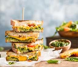 Grilled Cheese with Pesto and Arugula Nectarine Salad
