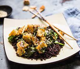 Crispy Sesame Tofu with Turnips and Midnight Grains