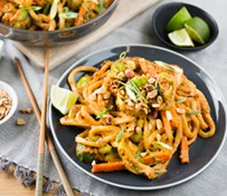 Spicy Almond Butter Udon with Charred Brussels Sprouts
