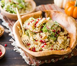 """Autumn Quinoa Bowl with Brussels Slaw and Warm Coconut """"Bacon"""""""