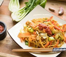 Vegetable Chow Mein with Sweet Potato and Garlic Tamari Sauce