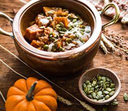 Pumpkin Matar with Coconut Yogurt and Brown Basmati Rice