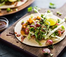 Refried Butternut Tacos with Roasted Grape Salsa and Plantains