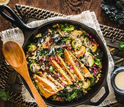 Fall Vegetable Hash with Herbed Tempeh and Maple Tahini Dressing