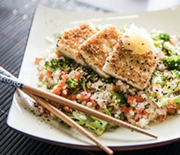 Tofu Katsu with Broccoli Fried Rice and Pickled Ginger