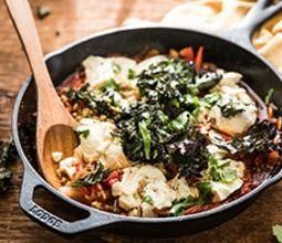 Shakshuka with Poached Tofu and Crispy Kale Chips