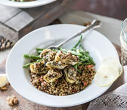 Walnut-Crusted Artichokes with Dijon Lentils and Green Beans
