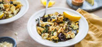 Penne Aglio Olio with Red Kale and Roasted Cauliflower