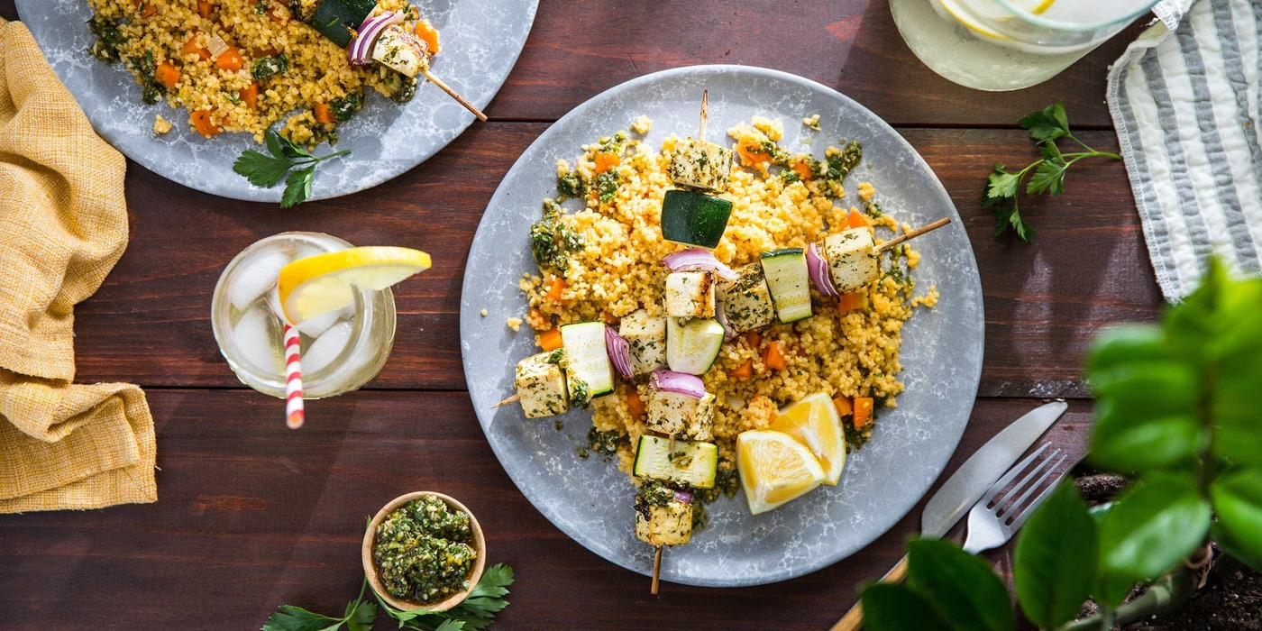 Herb Marinated Tofu Kebabs with Millet Pilaf