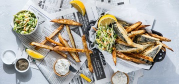 "Vegan ""Fish"" and Chips with Classic Tartar Sauce and Coleslaw"