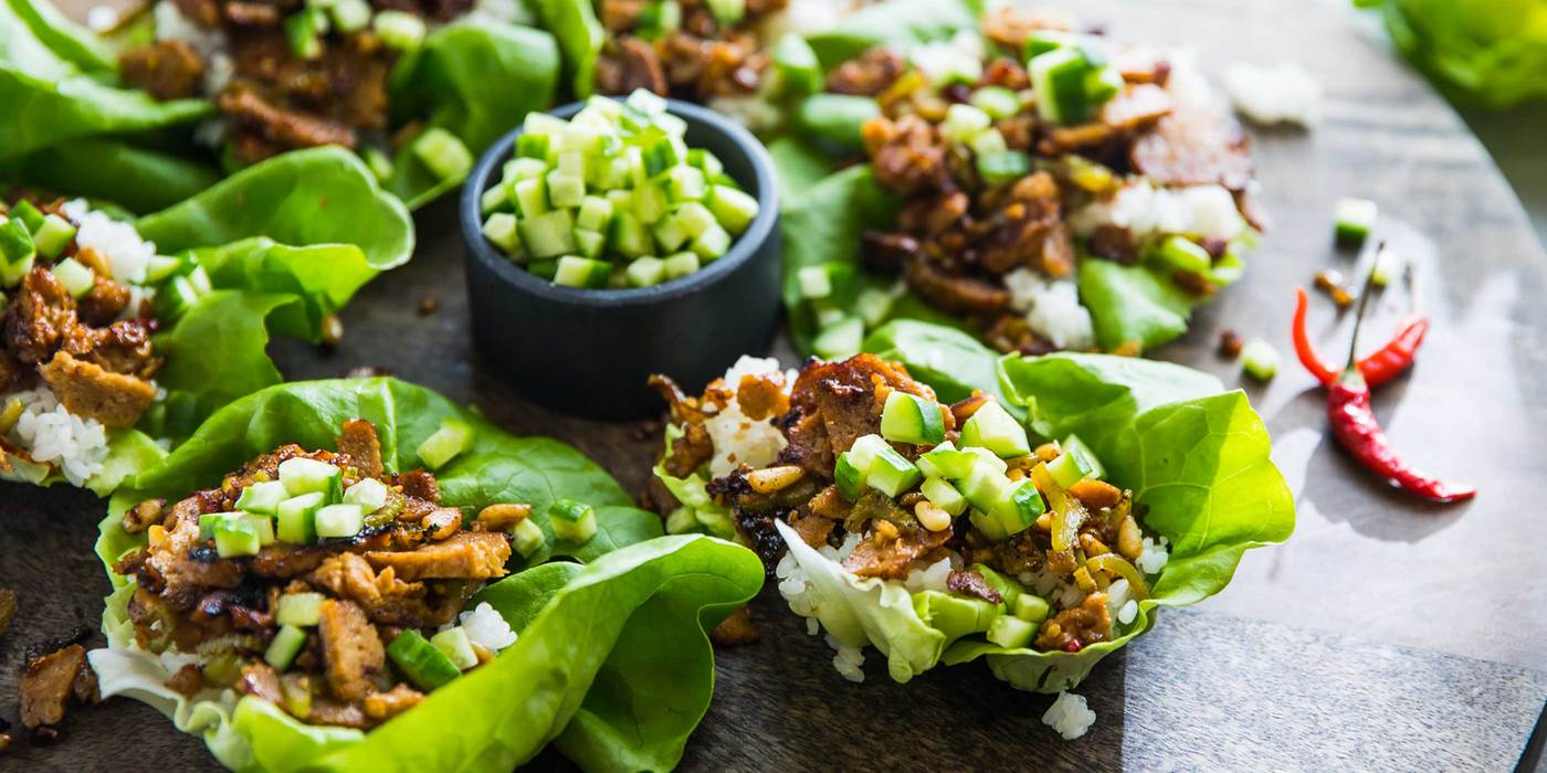 Mongolian Seitan Lettuce Cups with Sticky Rice and Pine Nuts