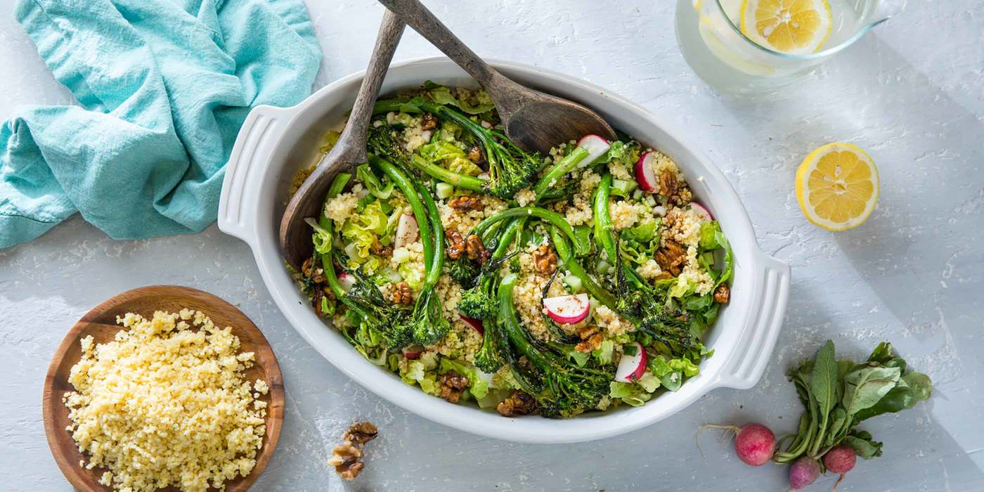 Millet Vegetable Fattoush with Broccolini and Sumac Vinaigrette