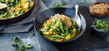 Jamaican Curry with Braised Greens and Amaranth