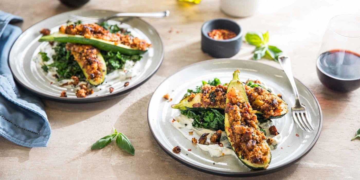 "Italian Stuffed Zucchini with Herb ""Sausage"" and Basil Crema"