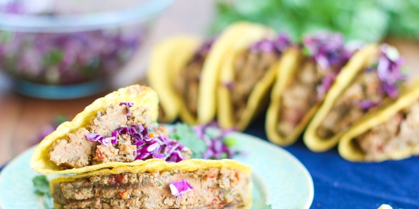 Lentil Walnut Tacos with Cabbage Lime Slaw