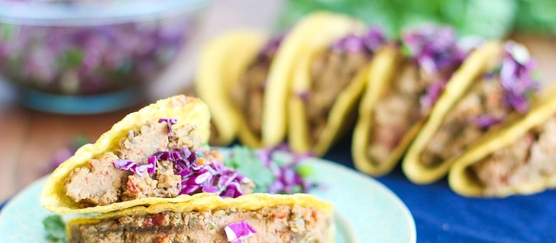 Lentil Walnut Tacos with Cabbage Lime Slaw