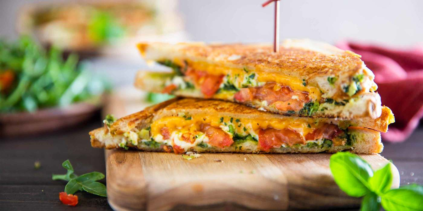 Grilled Cheese with Pesto and Arugula Salad