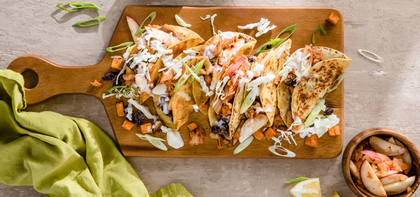 Sweet Potato Black Bean Tacos with Peach Kimchi and Citrus Aioli