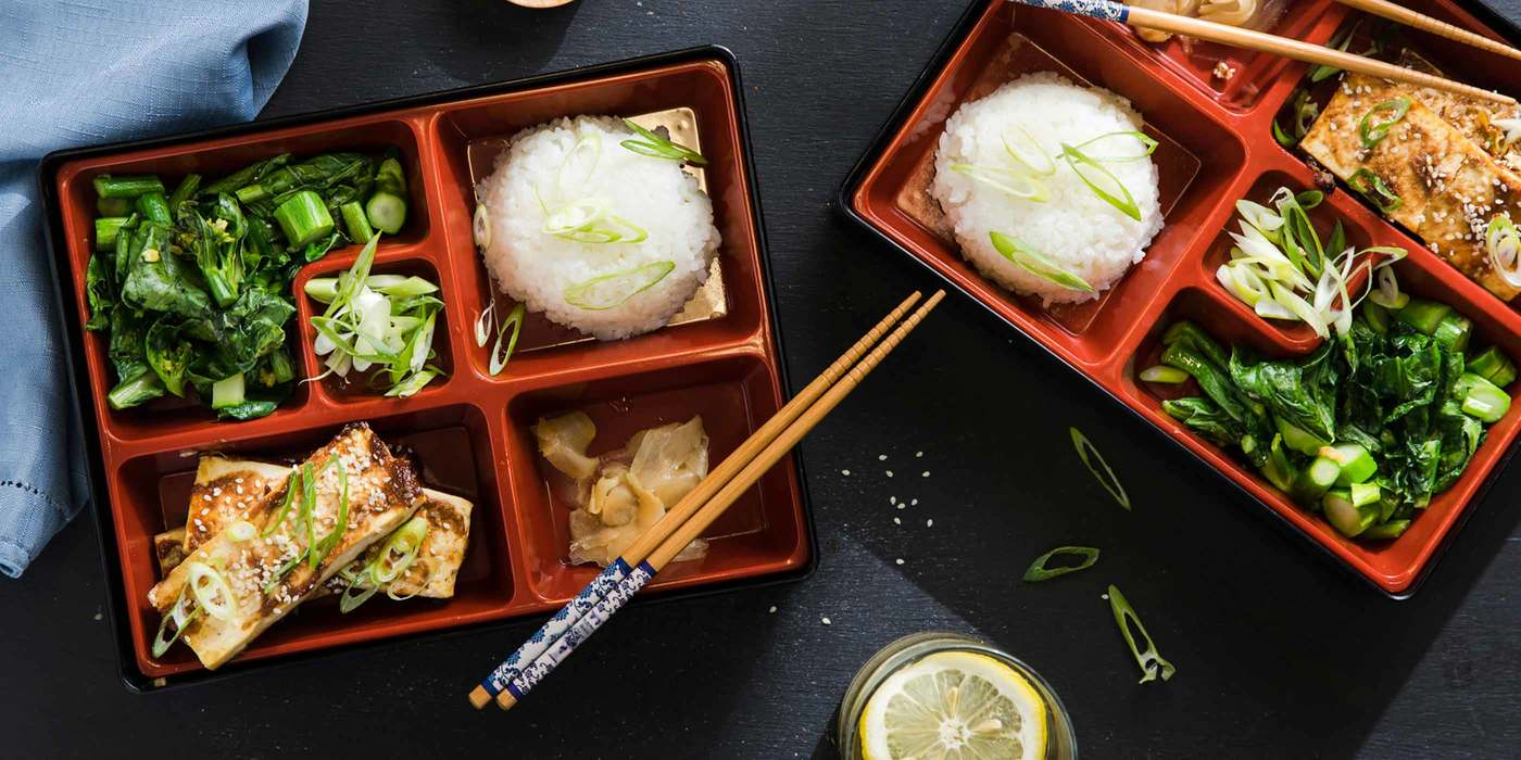 Japanese Bento Box with Miso-Glazed Tofu and Yu Choy