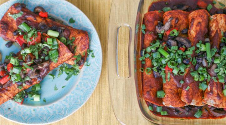 Black Bean Mushroom and Red Pepper Enchiladas