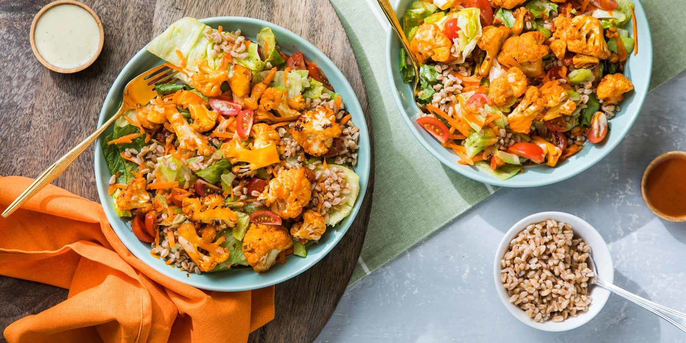 Buffalo Cauliflower Salad with Farro and Ranch Dressing