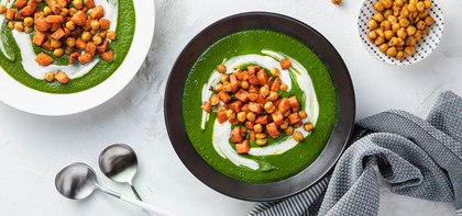 Minted Spinach Soup with Ras El Hanout Carrots & Yogurt