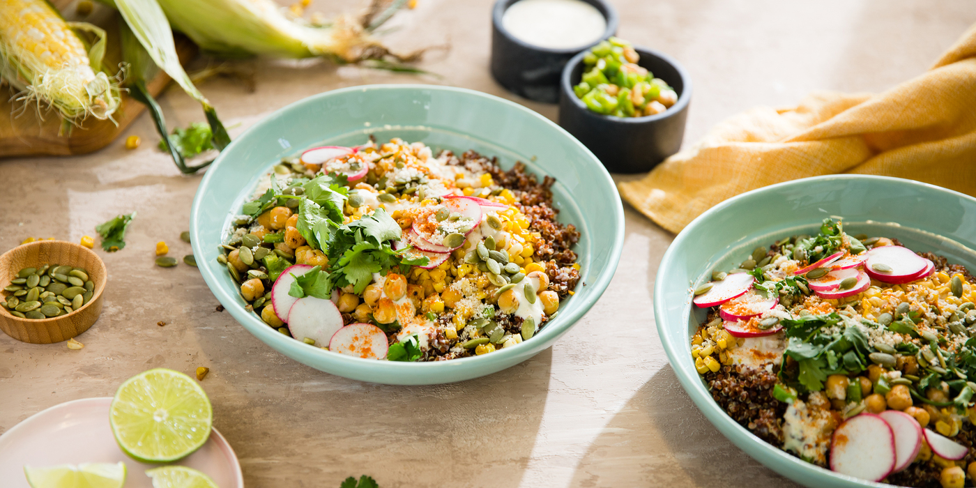 Elote Bowl with Lime Chickpeas and Red Quinoa