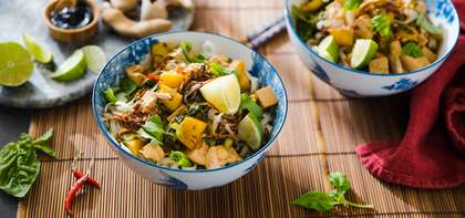 Canh Chua Vietnamese Soup with Fresh Pineapple and Crispy Shallots