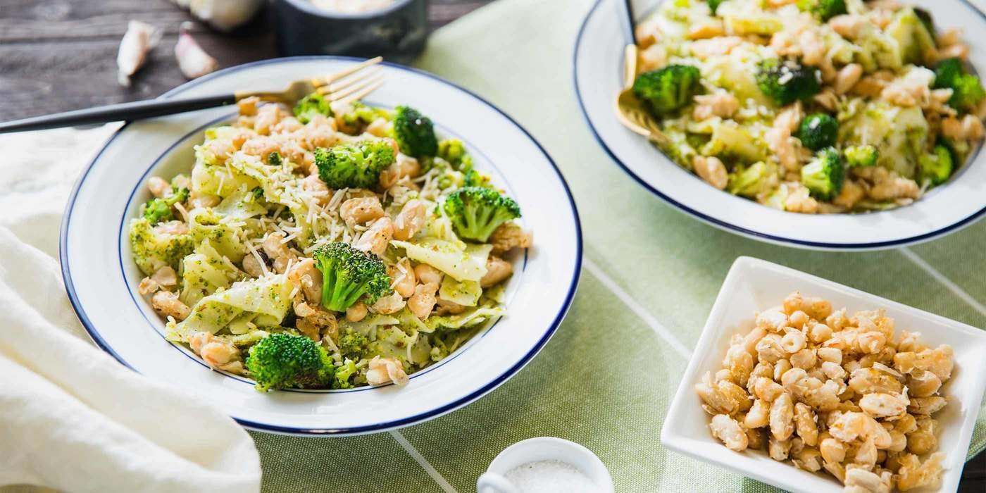 Broken Lasagna with Broccoli Pesto and Crispy Cannellini
