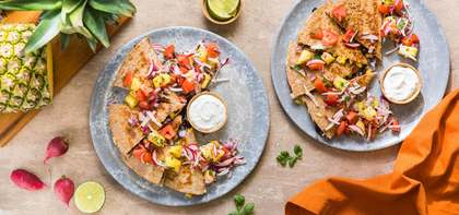 Black Bean and Corn Quesadilla with Pineapple Pico and Lime Crema