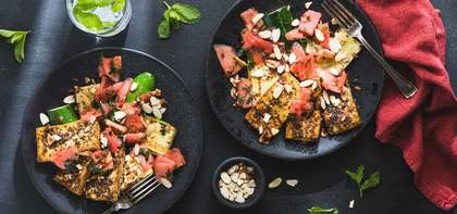 Tofu Halloumi with Watermelon Mint Salad and Charred Zucchini