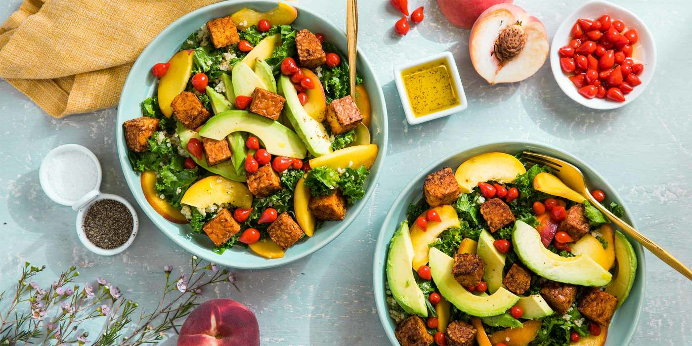 BBQ Tempeh Kale Salads with Peach and Sweet Peruvian Peppers