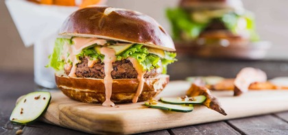 Black Bean Burgers with Zucchini Pickles and Pretzel Buns