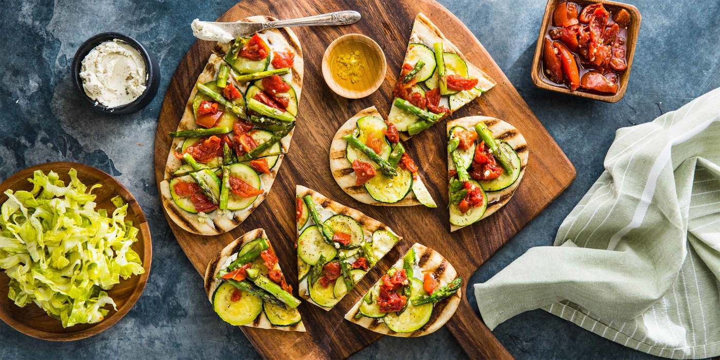 "Mediterranean Flatbreads with Roasted Tomatoes & Scallion Cashew ""Cheese"""