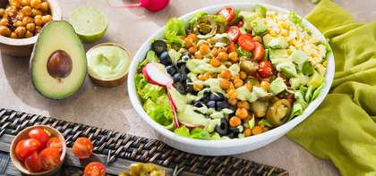 Chickpea Taco Salad with Fresh Corn & Avocado Ranch