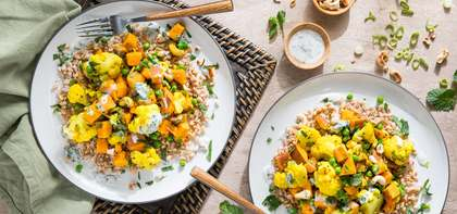 Cauliflower Cashew Sabzi with Farro & Minted Yogurt