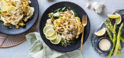 Caesar Cauliflower Steaks with Lemony Asparagus & Butter Beans
