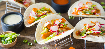 Buffalo Tempeh Tacos with Radish Slaw & Ranch Dressing