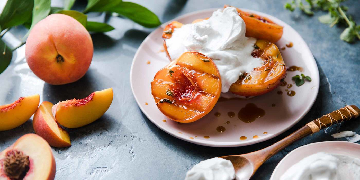 Grilled Peaches with Thyme and Whipped Coconut Cream