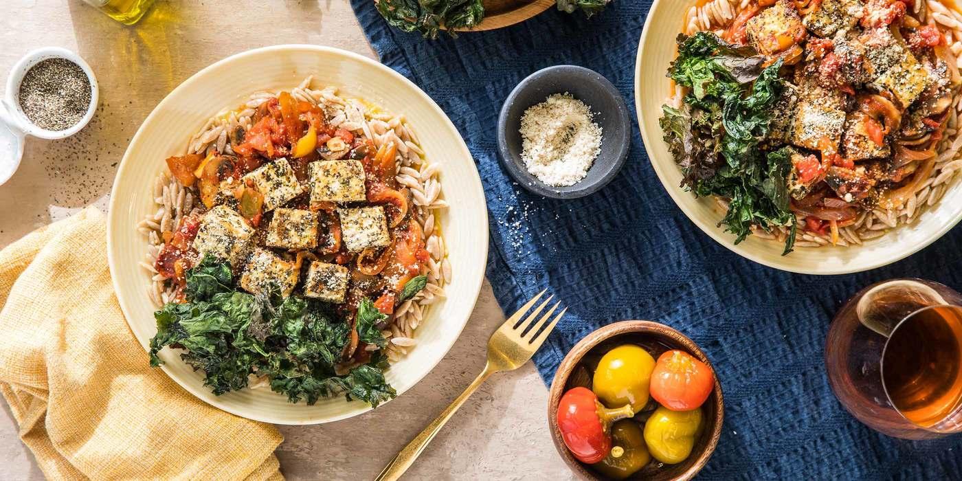 Tofu Cacciatore with Cremini Mushrooms & Crispy Kale Chips
