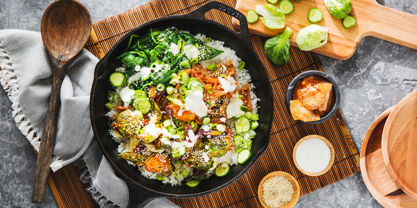 Autumn BiBimBap with Gochujang Brussels Sprouts & Sesame Aioli