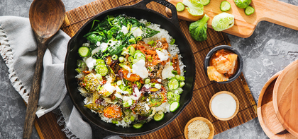 Autumn BiBimBap with Gochujang Brussels Sprouts & Sesame Aioli