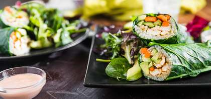Collard Green Sushi Rolls with Spicy Tofu & Miso Ginger Salad