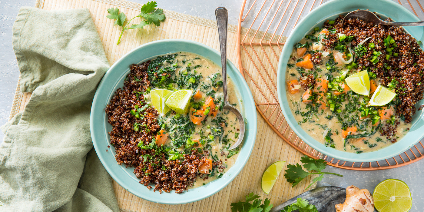 Coconut Peanut Soup with Sweet Potato & Red Quinoa