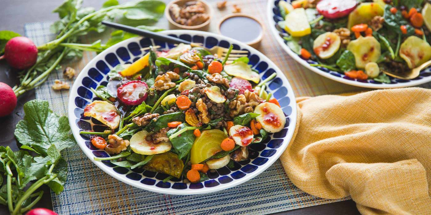 Fall Roasted Vegetable Salad with Spinach & Raspberry Chipotle Vinaigrette