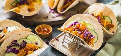 Tempeh Tikka Masala Tacos with Yogurt Cucumbers & Mango Chutney