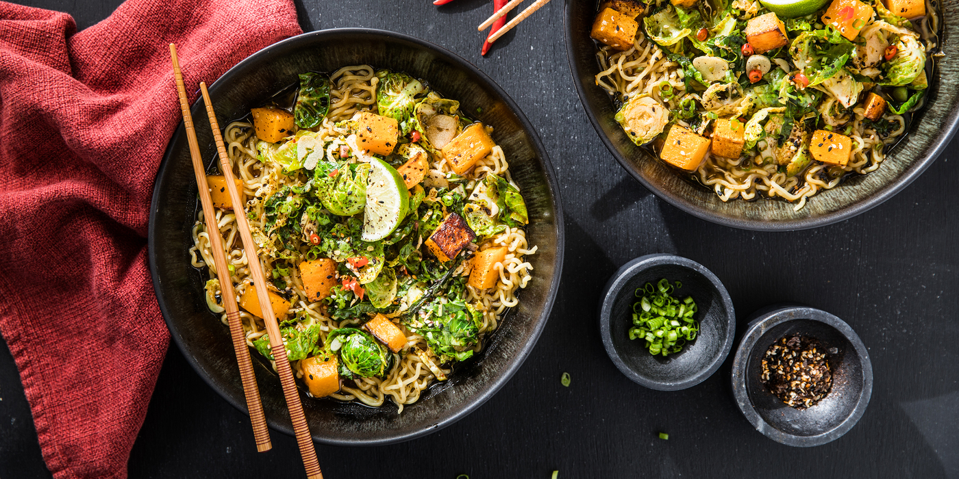 Fall Vegetable Ramen with Red Miso Broth & Smoked Nori Spice
