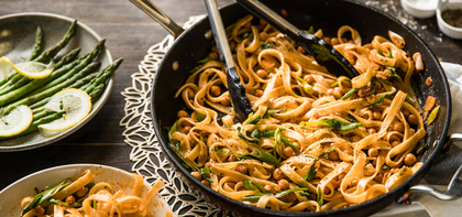 Skillet Fettuccine with Chickpeas & Tomato Butter