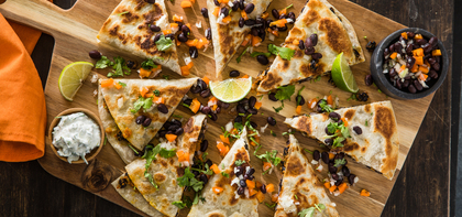 Black Bean Pumpkin Quesadilla with Sweet Pepper Salsa & Jalapeno Lime Crema